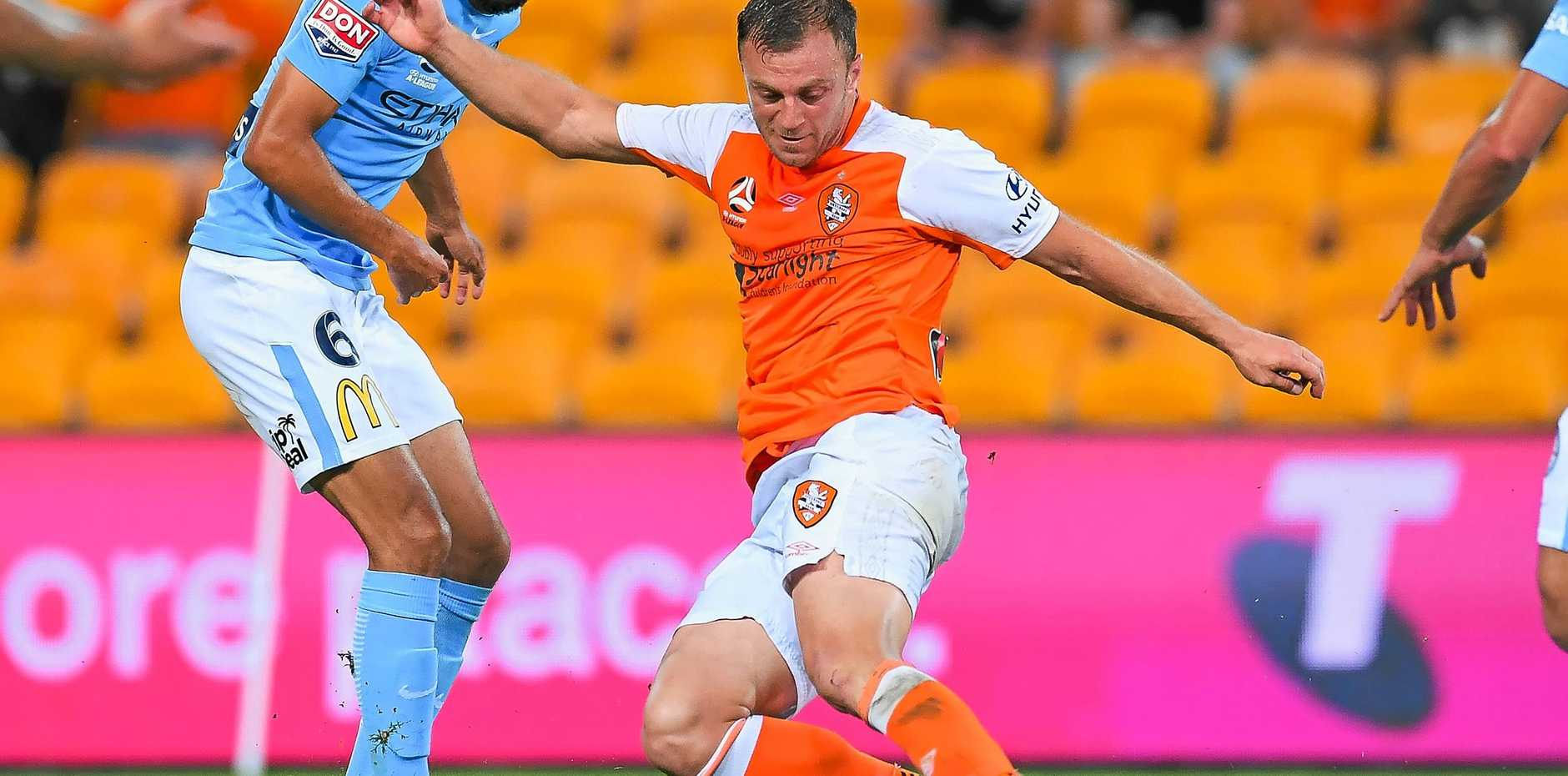 Brisbane's Avram Papadopoulos (right) faces further sanctions after being sent off in the match against Sydney FC.