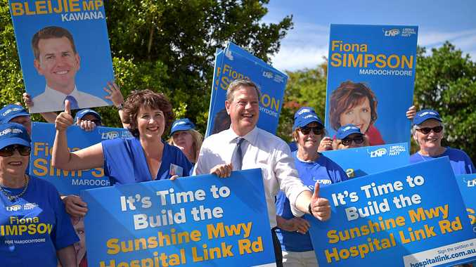 LNP Leader Tim Nicholls makes a major announcement about road funding on the Sunshine Coast.Pictured with Maroochydore Member Fiona Simpson.