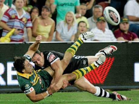 Billy Slater loses control of the ball during the 2008 Rugby League World Cup final against New Zealand.