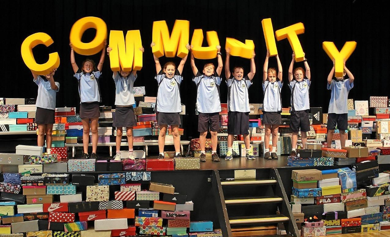 GENEROUS DONATION: Students from Coolum State School with the shoeboxes that were shipped to East Timor.
