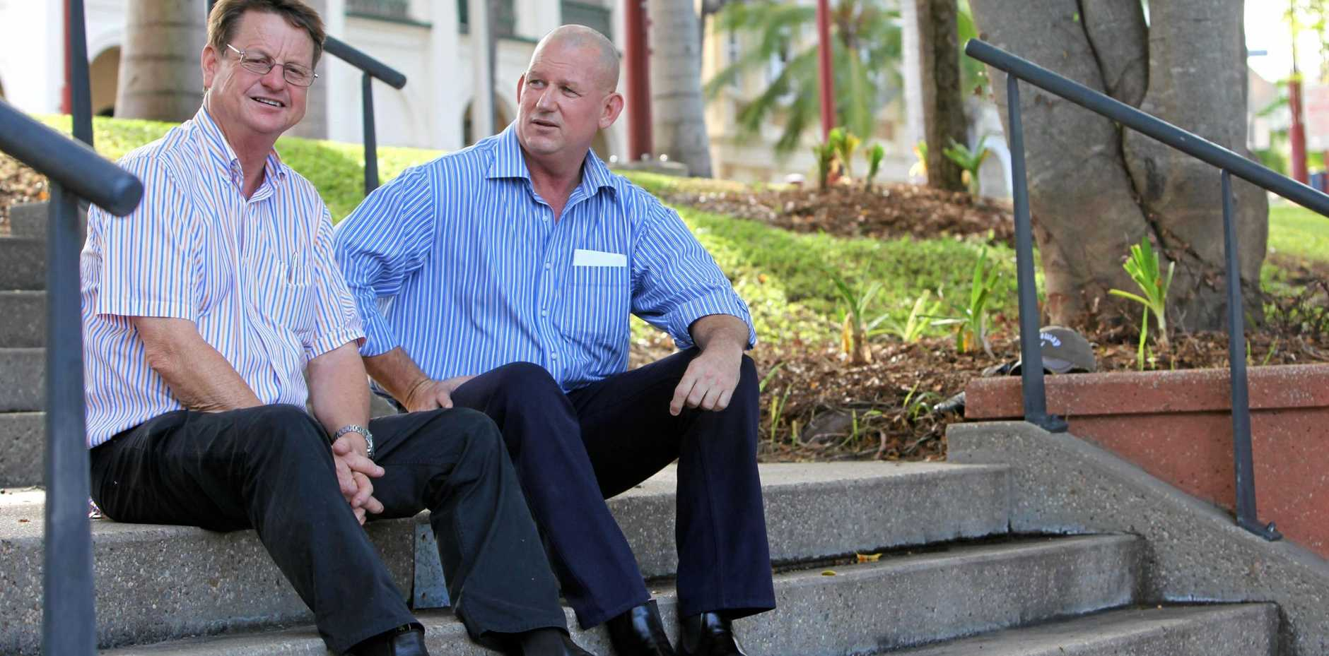 FLASH BACK: Robert Schwarten and Bill Byrne back in 2011 before Mr Byrne won the seat of Rockhampton at the 2012 election after Mr Schwarten had retired.