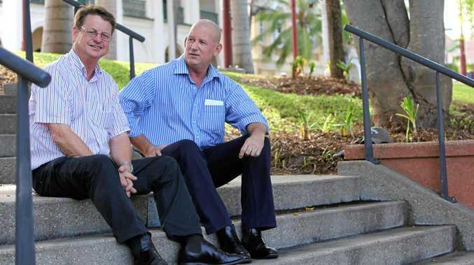 FLASH BACK: Robert Schwarten and Bill Byrne back in 2011 before Mr Byrne won the seat of Rockhampton at the 2012 election after Mr Schwarten had retired.