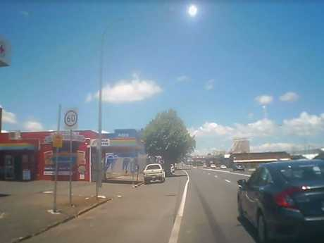 The footage shared by Donna Brazier shows her turning right onto Ruthven St from Bridge St.