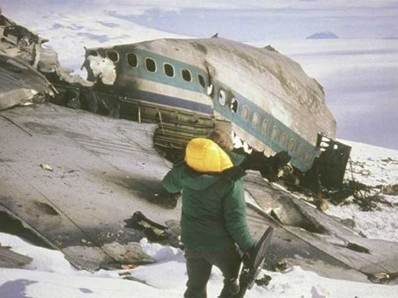 Debris from the doomed Flight 901 is strewn across Mount Erebus.