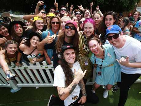 Violent Soho pose with Patience Hodgson from The Grates and Mel Buttle at the Hottest 100 Backyard Party at St. Jerome's Laneway Festival at the RNA Showgrounds, Brisbane on Australia Day. Picture: Claudia Baxter