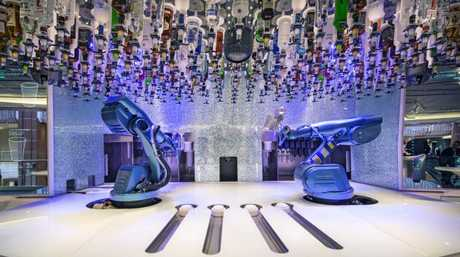 Order drinks from a robot at the Bionic Bar. Picture: Royal Caribbean.