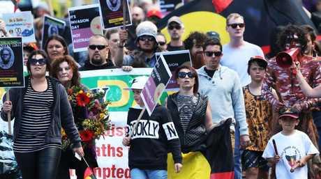Invasion Day March through Hobart in 2017 ending at Parliament Lawns in support of the Tasmanian Aboriginal community. Picture: Nikki Davis-Jones