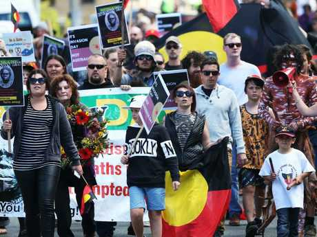 Invasion Day March through Hobart in 2017 ending at Parliament Lawns in support of the Tasmanian Aboriginal community. Picture: Nikki Davis-Jones
