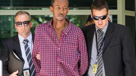 Ali Khalif Shire Ali in police custody. Picture: Mark Stewart