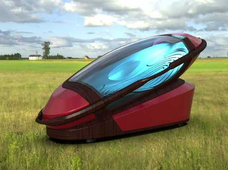 The Sarco machine — a capsule designed to assist suicide. it can be manufactured with a 3D printer and the base can be re-used.