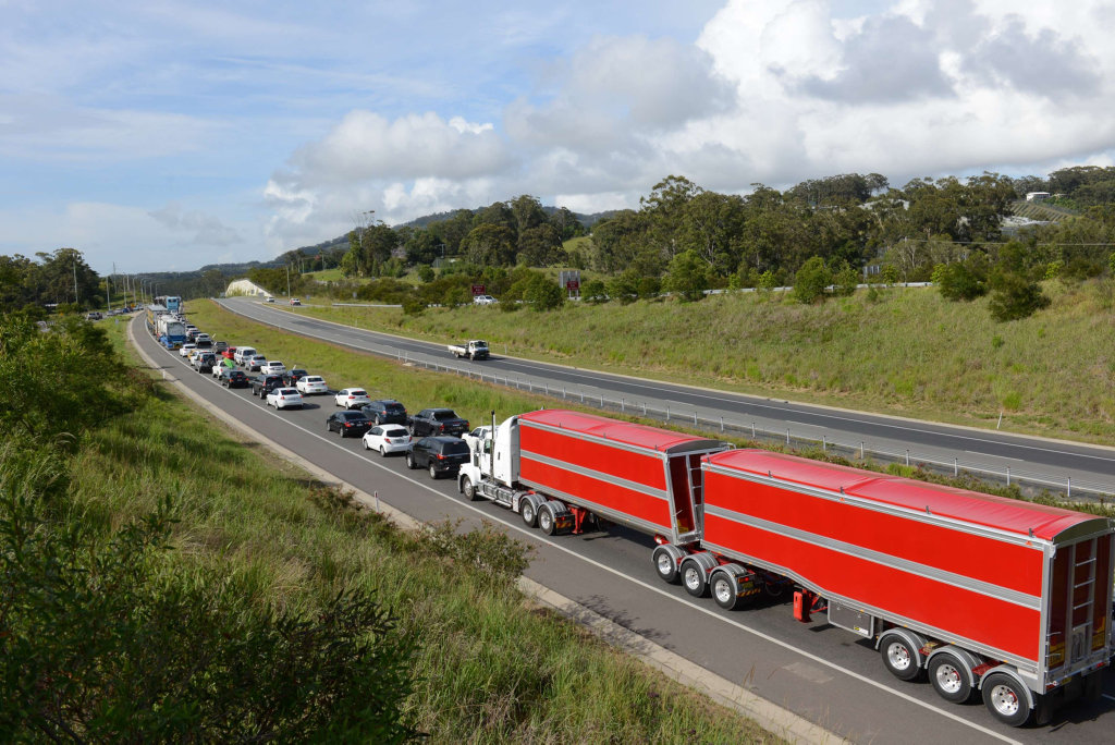 Traffic is backed up to the Moonee Beach turn off in the southbound lanes.