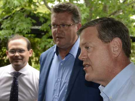 QUICK VISIT: Queensland opposition leader Tim Nicholls (right) visits East Toowoomba with MPs (from left) David Janetzki and Trevor Watts.