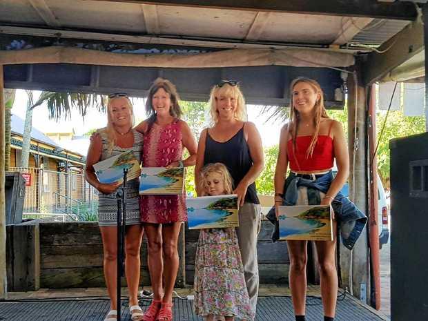 BYRON BOARDRIDERS: Open Women's section winners. Sally Miller is second from left.