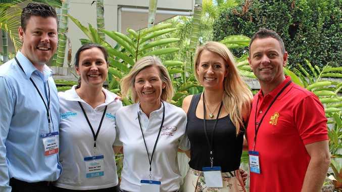 SHOWCASE: James Coughlan (Intercruises), Donna van 't Hoff (Tourism Whitsundays), Nicole Graham (Sundowner/Lady Enid), Michelle Woodroff (Ticketmates Australia) and Asher Telford (Red Cat Adventures) at the Palm House last week.