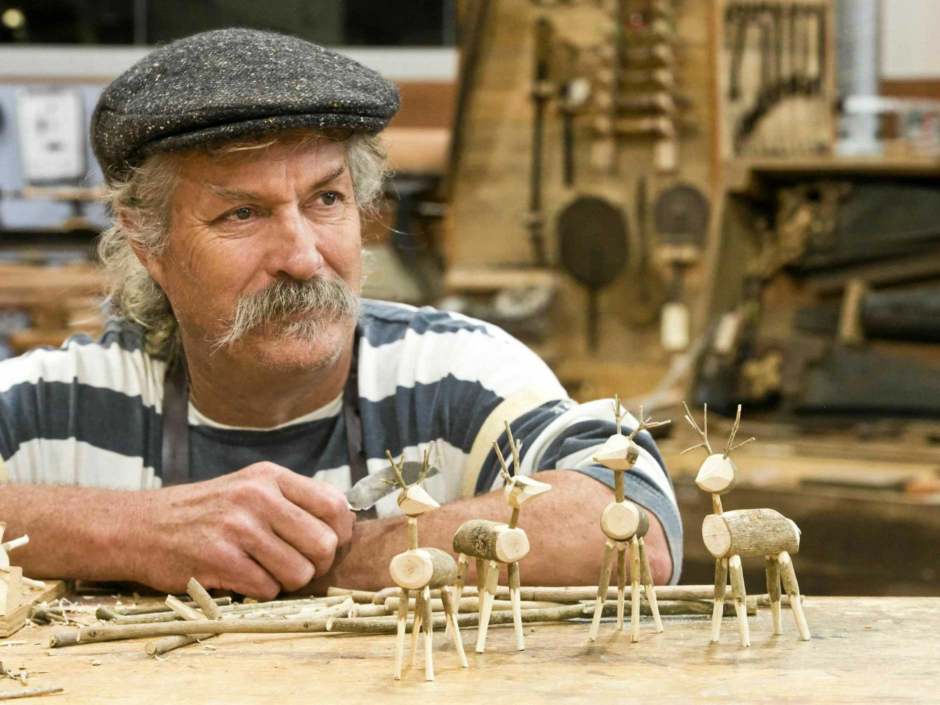 TINY ANTLERS:  Wood and sculpture artisan Andrew MacDonald is making wooden reindeers for the Hand Made Under the Stars twilight artisan market, Cobb and Co Museum. Wednesday, 29th Nov, 2017.