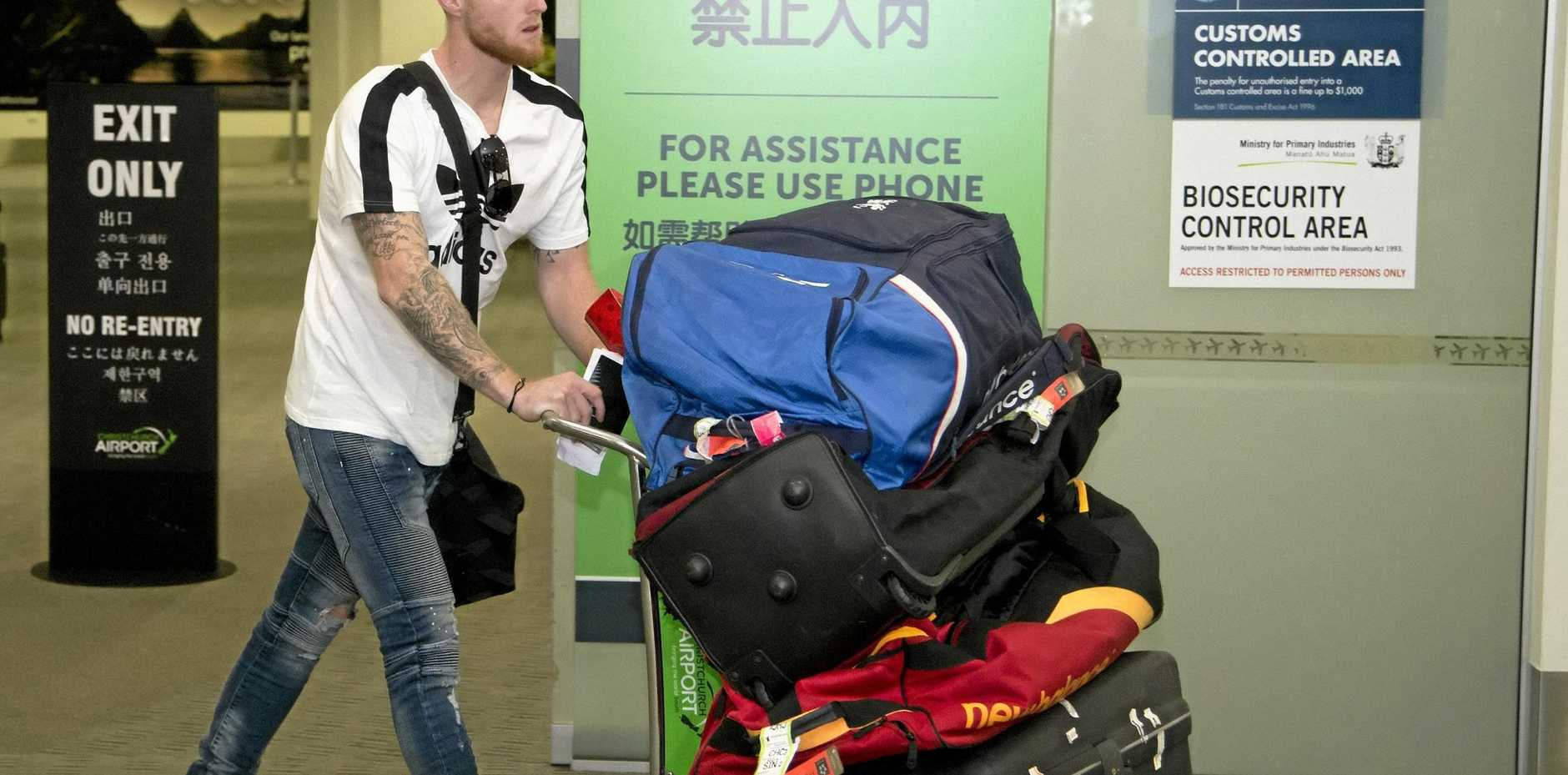 Ben Stokes arrives in Christchurch.