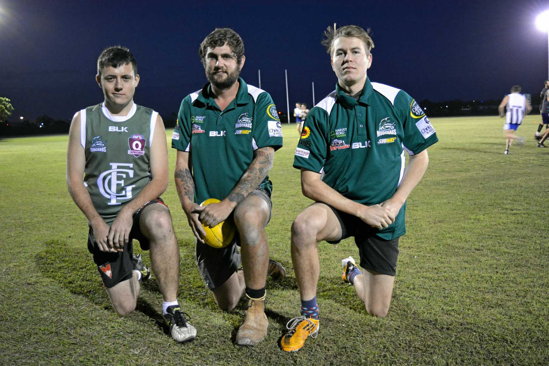 FINALS BOUND: Gladstone Mudcrabs players Aaron Monish, Zac Jahn and Josh Brown cannot wait for the toughest test in AFL Capricornia football - and that is beating Yeppoon in Saturday's second semi-final.