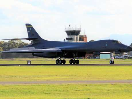 Local enthusiast Tom Fisher captured these images of the US Air Force Lancer Bomber landing at Amberley on Tuesday.