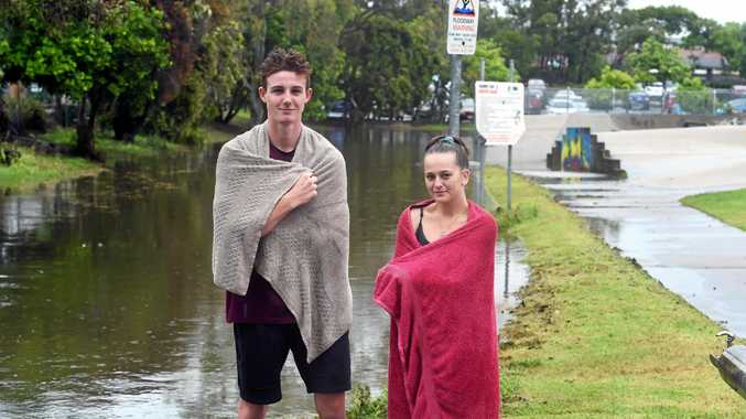 Heavy rain on the Fraser Coast caused minor flash flooding on Wednesday afternoon - A day at the skate park came to an end when the waters rose in less than 20 minutes.  Lance Cameron and Shantelle Bartlett