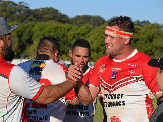 South Grafton Rebels leaders Ron Gordon (left) and Grant Stevens were all smiles after the Rebels won the Group 2 preliminary final against the Coffs Harbour Comets. rugby league 27 August 2017 Geoff King Motors Park