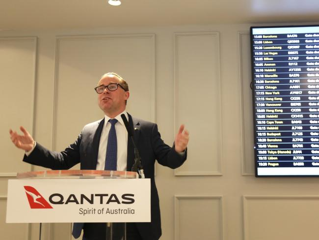 Alan Joyce's comments came as he opened a new Qantas lounge at London's Heathrow Airport. Picture: Ella Pellegrini