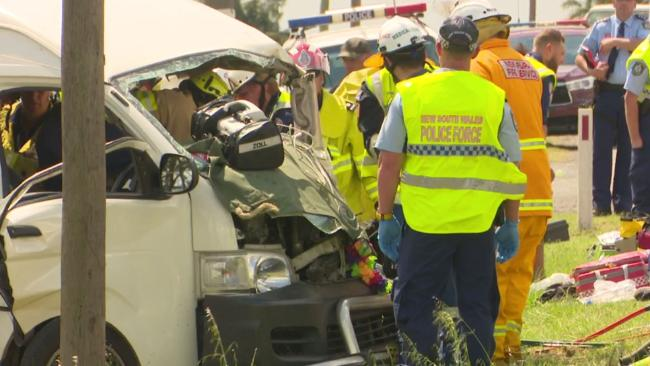 Emergency crews rusg to the aid of the injured following the horror head-on crash. Picture: TNV