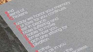 The gravestone makes a pretty bold statement to the Colonel