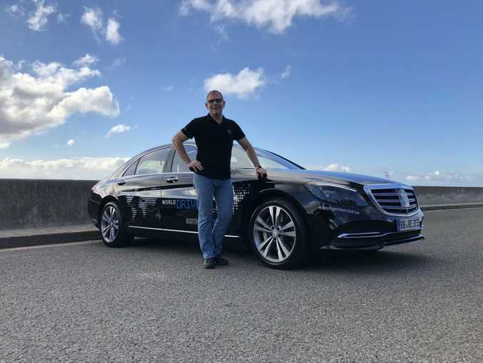 Senior Mercedes engineering executive Jochen Haab with the Level 3 autonomous driving test Sydney to Melbourne via Canberra (Nov 2017). Picture: Joshua Dowling.