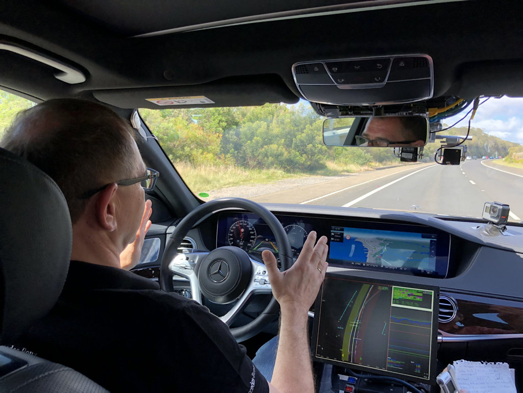 Mercedes this week took a test-bed S-Class from Sydney to Melbourne via Canberra. Its advanced cameras and radar can, in theory, allow unlimited hands-free driving on freeways.