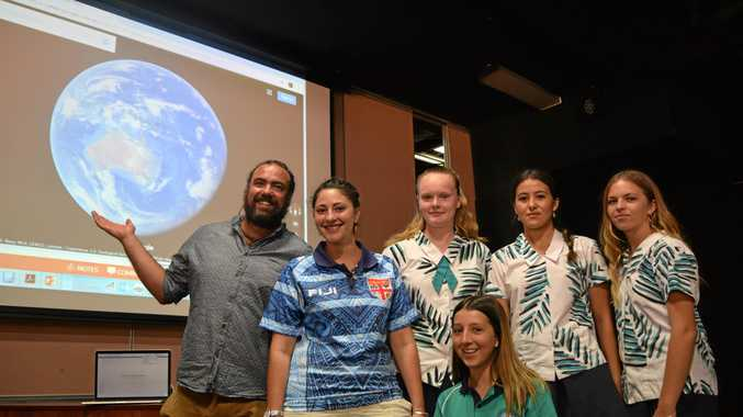 EXPLORE: USC lecturers Mick Dan and masters student Renee Currenti with Sunshine Beach students Sahra Lawton, Holli Gadsby, Jamaica Te Moana and Lucy Redhead.