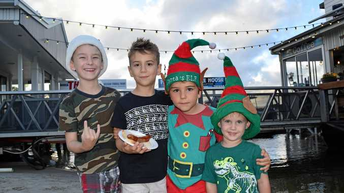 FESTIVE SPIRIT: Byron, 7, Zac, 7, Saxon, 7, and Luca, 3, dress up for the Noosaville Christmas Tree Lighting last Friday.