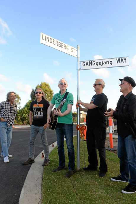 GANGGAJANG WAY: Peter Willersdorf, Robbie James, Mark Callaghan, Buzz Bidstrup and Geoff Stapleton perform at the opening of GANGgajang Way in Bundaberg.