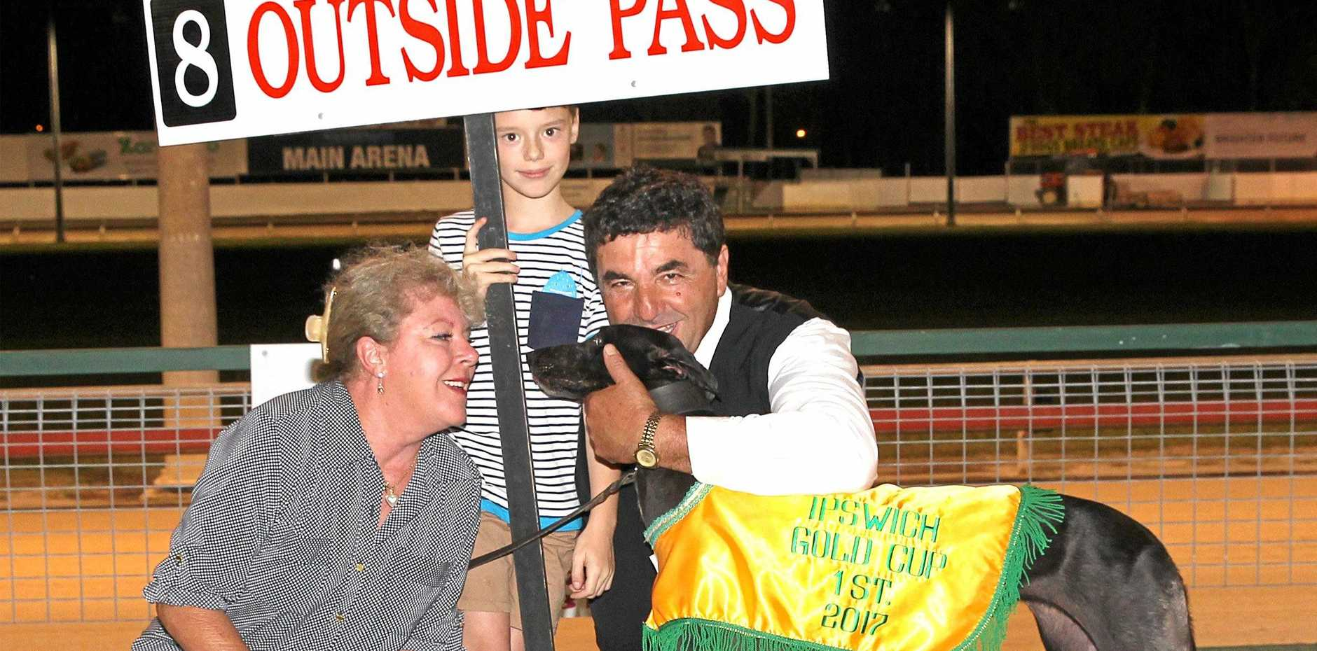 2017 City of Ipswich Gold Cup winner Outside Pass with trainer Tony Apap and his wife Jane.