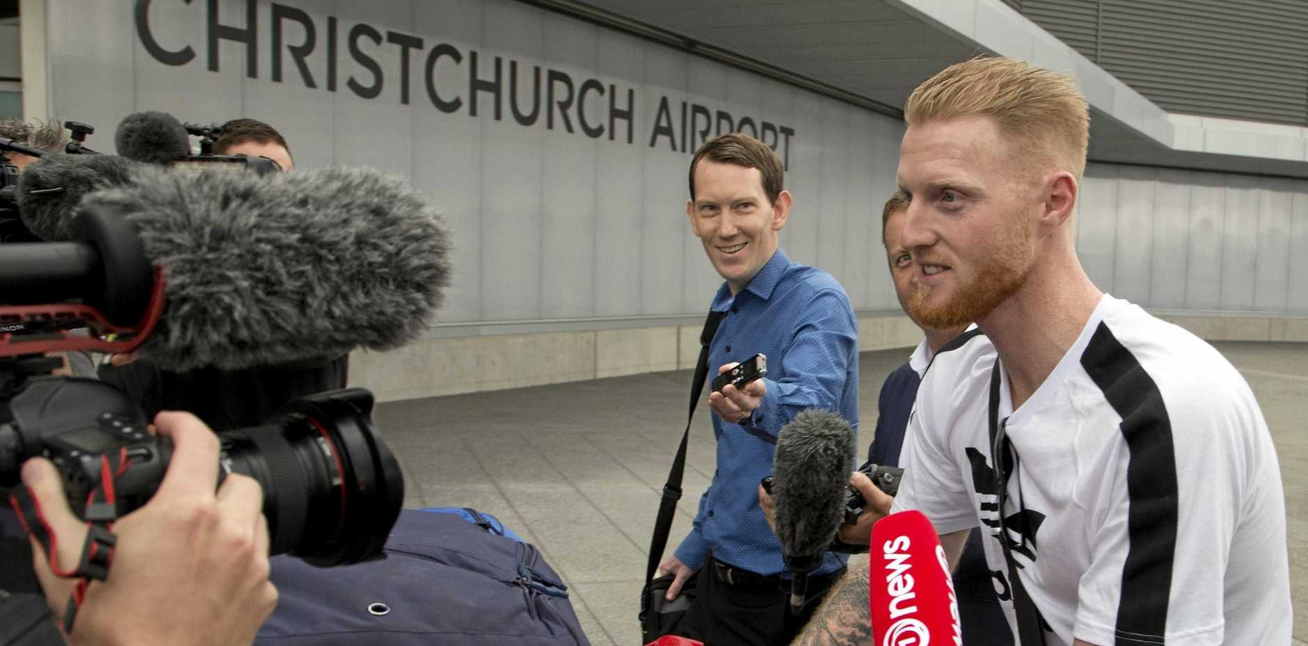 New Zealand-born England cricket star Ben Stokes is a target for media as he arrives in Christchurch on Wednesday.