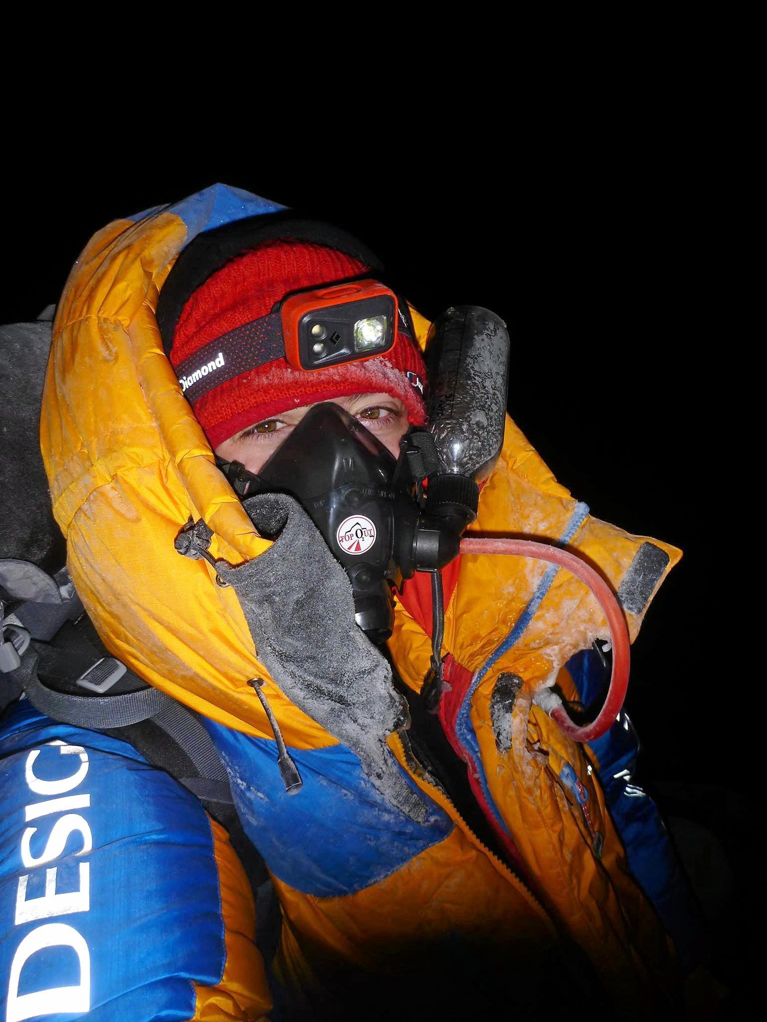 ON TOP OF THE WORLD: Toowoomba mountaineer Alyssa Azar on top of Mt Everest.