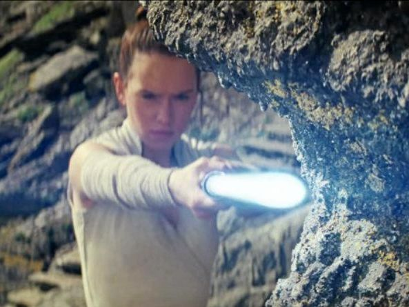 Daisy Ridley in a scene from the trailer for the movie Star Wars: The Last Jedi.