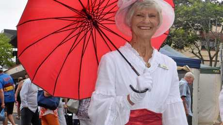 Judy Anderson dressed as Mary Poppins to celebrate the Maryborough Markets 30th anniversary on Thursday.