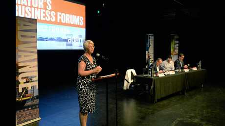 Mayor Margaret Strelow addresses the Business Forum on the Adani mine development.