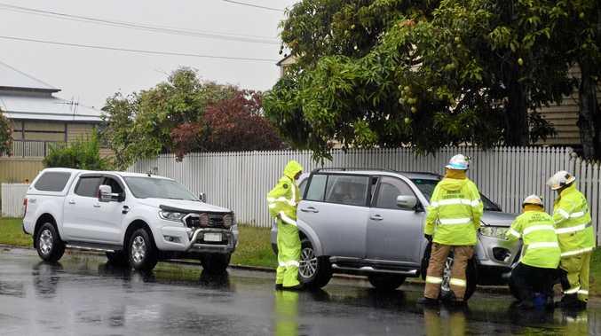The crash on Fort St, Albert St in Maryborough on Thursday.
