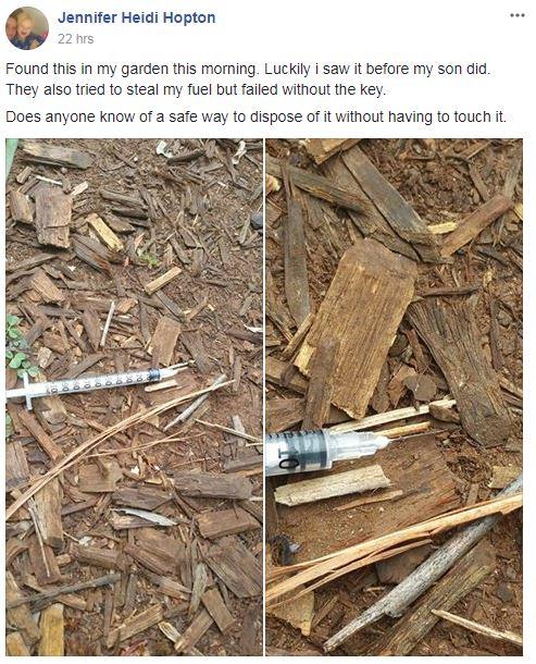 Jennifer Hopton found a syringe in her garden.