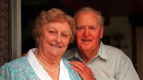 Former Queensland premier Sir Joh Bjelke-Petersen and wife Lady Flo at their