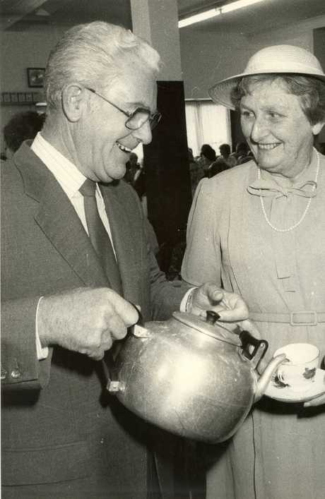 The two at the Brisbane City Mission coffee shop opening in 1985.