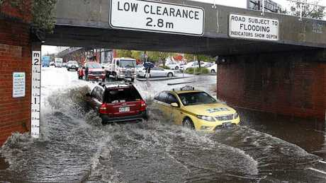 The weather bureau has warned drivers to avoid floodwaters. Picture: Richard Serong