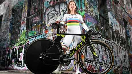 Dutch cyclist Annemiek van Vleuten in her world champion jersey. Picture: Tim Carrafa