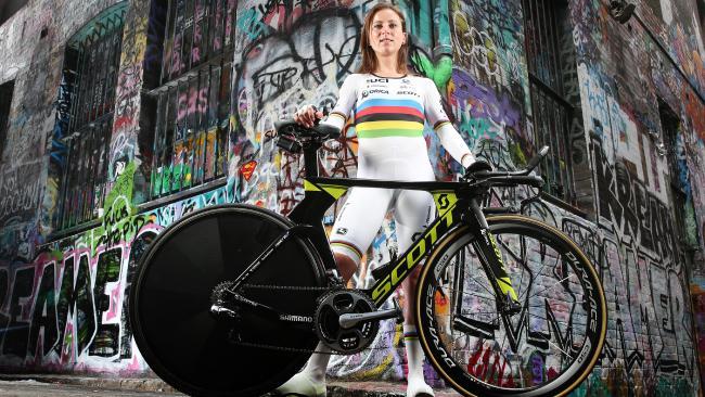 Dutch cyclist Annemiek van Vleuten in her world champion jersey. Picture: Tim Carrafa