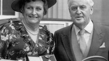 The two after he was awarded the Most Distinguished Order of St Michael and St George at Buckingham Palace in the 1980s.