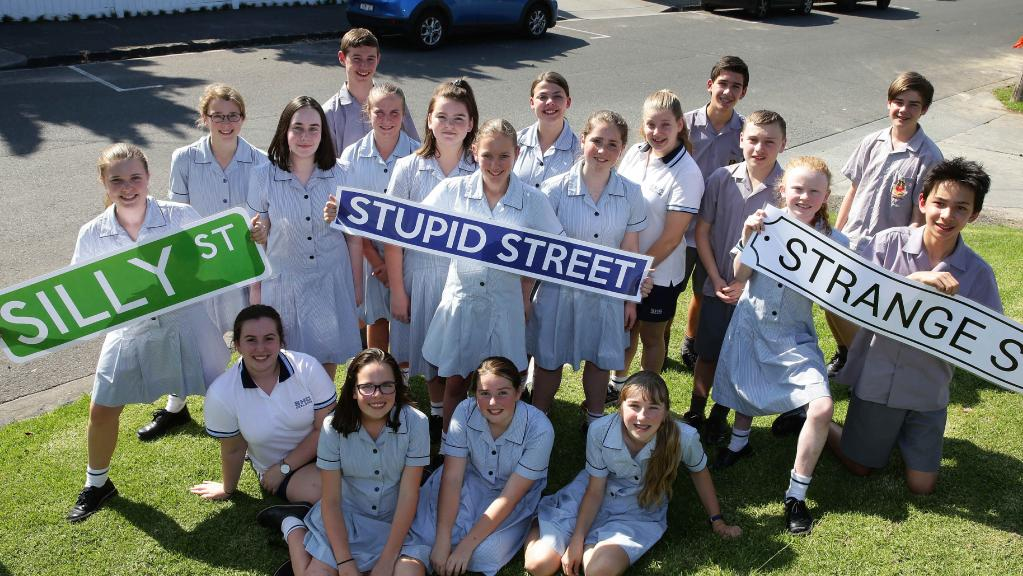 Students at Sacred Heart and St Josephs College in Geelong have put together a report to discover if property prices are cheaper in streets with unusual or silly names. Picture: Peter Ristevski