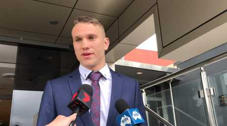 Boxer Steven Jack Spark speaks outside Toowoomba Magistrates Court after pleading guilty to assault occasioning bodily harm.