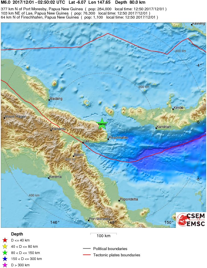 Where the 6.0 earthquake struck in Papua New Guinea. Photo: European-Mediterranean Seismological Centre.