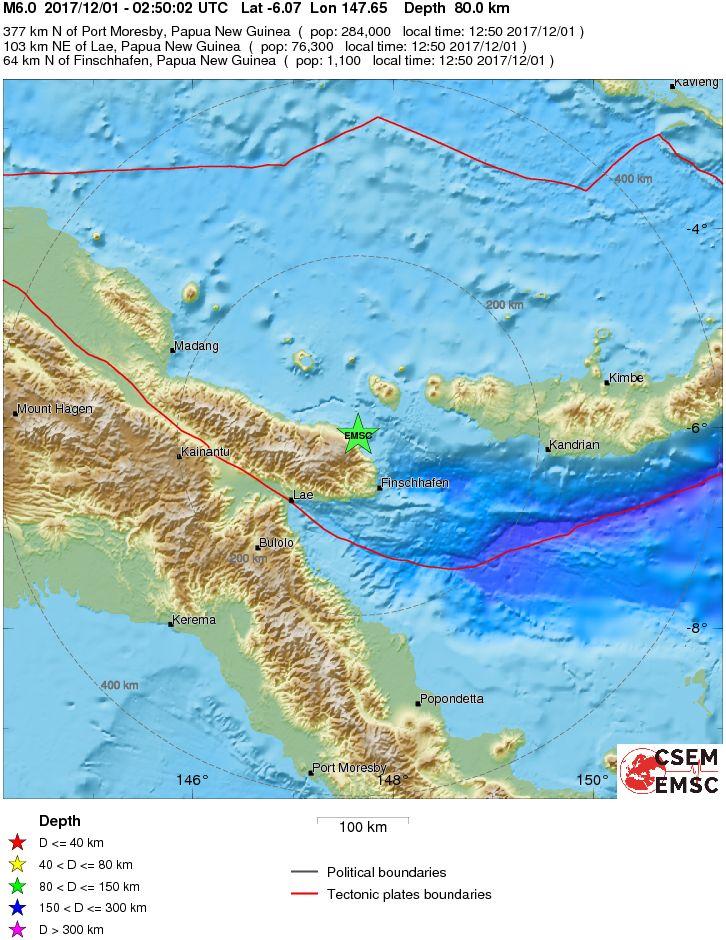 Where the 6.0 earthquake struck in Papua New Guinea. Photo: European-Mediterranean Seismological Centre.